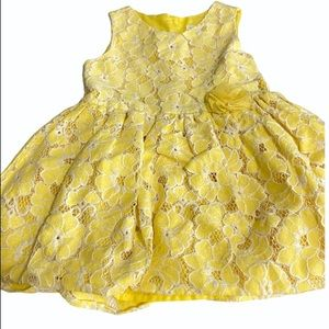 The Children's Place Yellow White Lace Girl's Dress